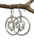 Load image into Gallery viewer, Antiqued Silver Hoop Dolphins Dangling Earrings