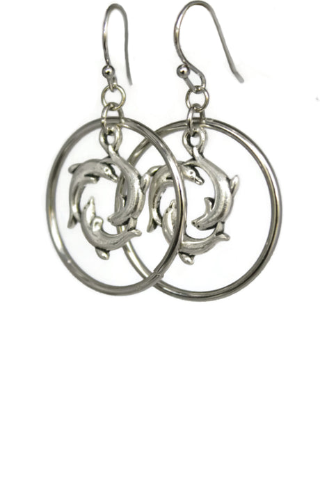 Circling Dolphins Hoop Dangle Earrings