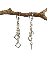 Silver Hallow Square Cluster Dangling Earrings