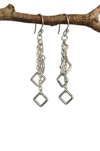 Square Cluster Dangling Earrings