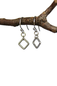 Silver Hallow Square Dangle Earrings