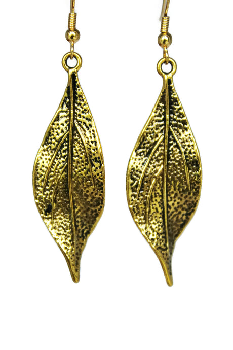 Antiqued Gold Leaf Dangle Earrings Fall Fashion Nature Inspired Jewelry