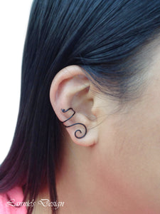 Black Swirl Wire Ear Cuff No Piercing Conch Cartilage Earrings