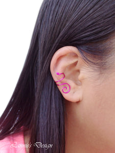 Hot Pink Swirl Wire Ear Cuff No Piercing Conch Cartilage Earrings