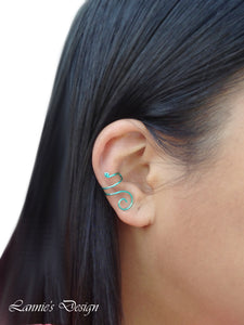 Sea Green Swirl Wire Ear Cuff No Piercing Conch Cartilage Earrings