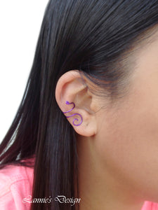 Purple Swirl Wire Ear Cuff No Piercing Conch Cartilage Earrings