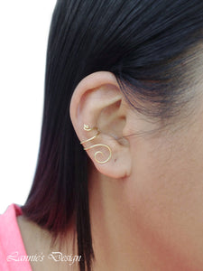 Gold Brass Swirl Wire Ear Cuff No Piercing Conch Cartilage Earrings
