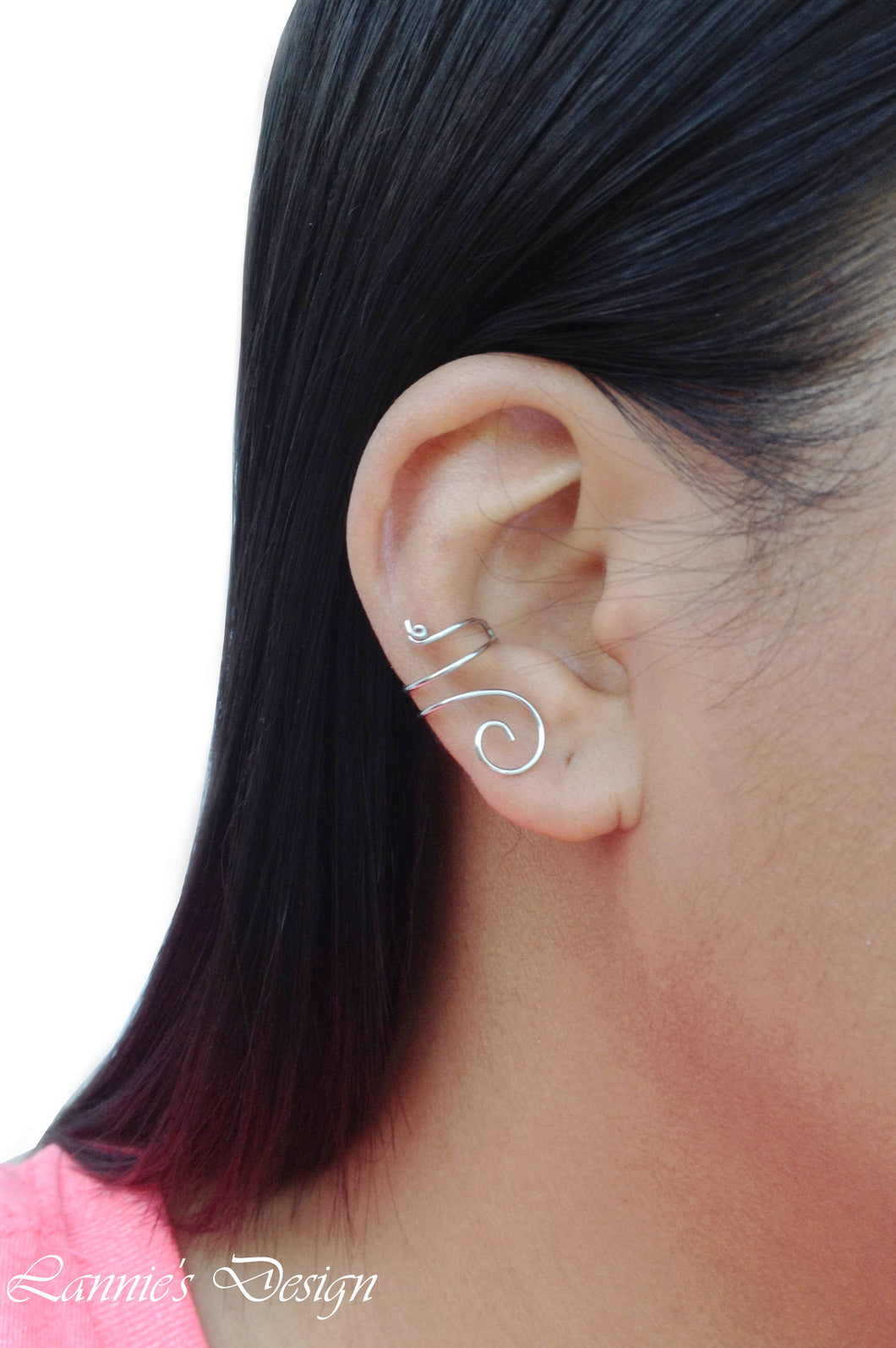 Silver Swirl Wire Ear Cuff No Piercing Conch Cartilage Earrings