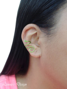 Green Swirl Wire Ear Cuff No Piercing Conch Cartilage Earrings