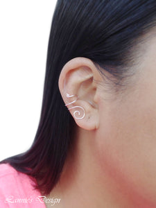 Light Pink Swirl Wire Ear Cuff No Piercing Conch Cartilage Earrings