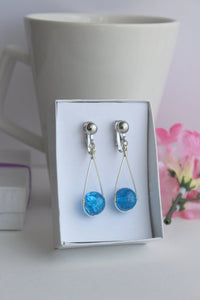 Blue Hanging Crackle Bead Teardrop Dangling Earrings