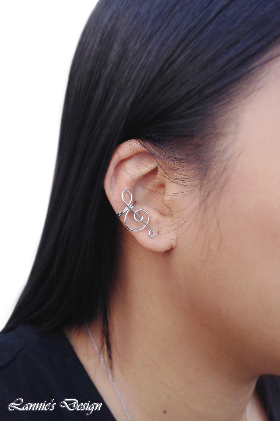 Silver Treble Clef Ear Cuff No Piercing Wire Conch Cartilage Earrings