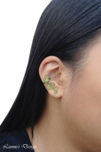 Green Treble Clef Ear Cuff No Piercing Wire Conch Cartilage Earrings
