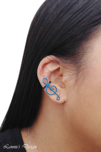 Blue Treble Clef Ear Cuff No Piercing Wire Conch Cartilage Earrings