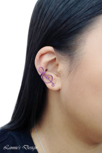 Violet Treble Clef Ear Cuff No Piercing Wire Conch Cartilage Earrings