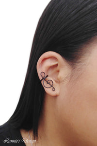 Black Treble Clef Ear Cuff No Piercing Wire Conch Cartilage Earrings