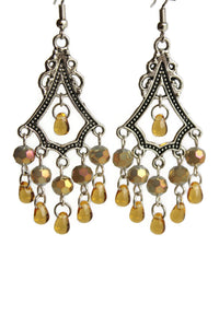 Chandelier Earrings Antiqued Silver Triangle Clip Ons No Piercing Spherical Beads