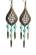 Load image into Gallery viewer, Chandelier Earrings Antiqued Brass Marquise Feather Bohemian Dream Catcher