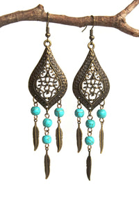 Chandelier Earrings Antiqued Brass Marquise Feather Bohemian Dream Catcher