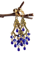 Load image into Gallery viewer, Chandelier Earrings Antiqued Gold Triangle No Piercing Clip Ons Glass Beads