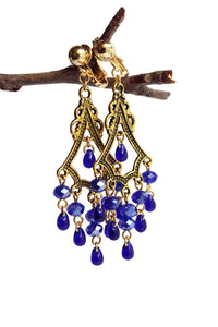 Chandelier Earrings Antiqued Gold Triangle No Piercing Clip Ons Glass Beads