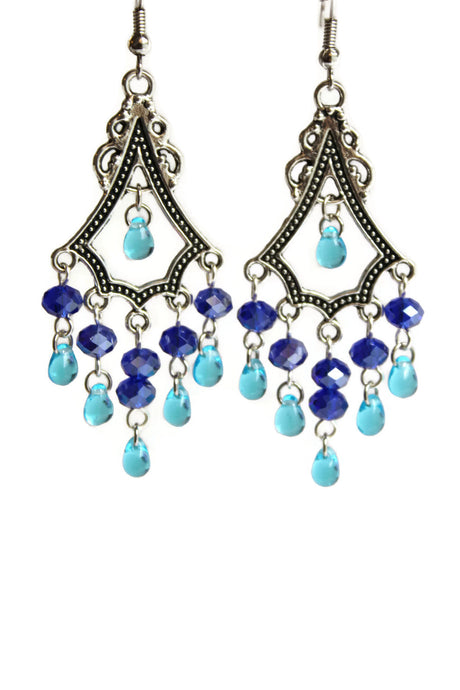 Chandelier Earrings Antiqued Silver Triangle No Piercing Clip Ons Glass Beads