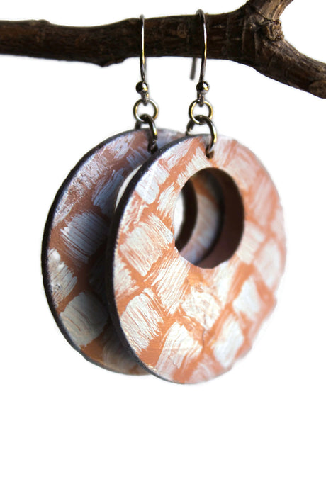 Hand Painted Dangle Earrings Off-Set Circle Wooden Light Weight Weaved Rustic Safari