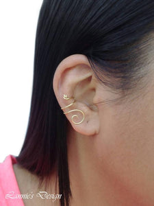 14K Gold Filled Ear Cuff Cartilage Earrings No Piercing Minimalist Swirl Wire