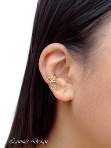 14K Gold Filled Ear Cuff Cartilage Earrings Spiral Wire Minimalist