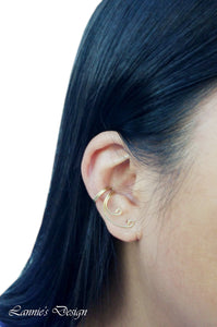 14K Gold-Filled Ear Cuff No Piercing Curve Wire Cartilage Earrings Minimalist