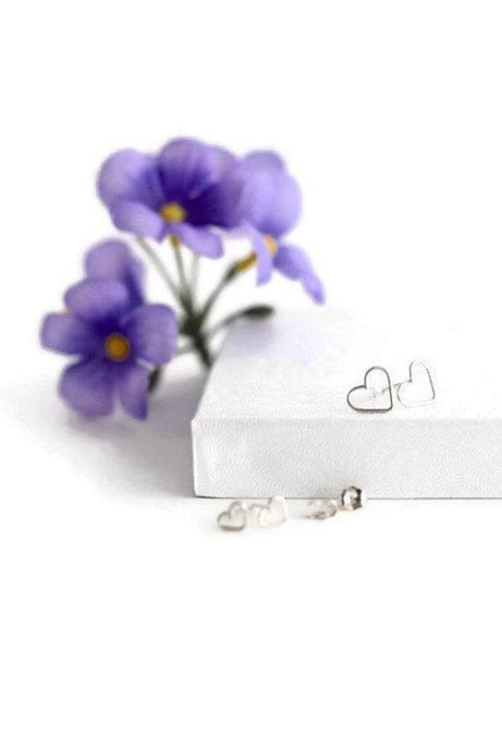 Tiny Heart Stud Earrings Wire Sterling Silver The Love Between a Mother and Daughter is Forever