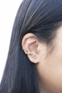 14K Gold Filled Ear Cuff Hollow Open Loops No Piercing Fake Earring Wire Conch