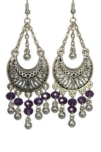 Load image into Gallery viewer, Purple Chandelier Earrings Antiqued Silver Half Moon Clip Ons No Piercing