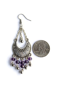 Chandelier Earrings Antiqued Silver Half Moon Clip Ons No Piercing Glass Beads