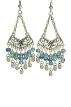 Load image into Gallery viewer, Blue Stone Chandelier Earrings Antiqued Silver Chevron Flower Clip Ons No Piercing