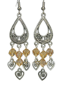 Chandelier Earrings Teardrop Heart Swirl Antiqued Silver Clip Ons No Piercing