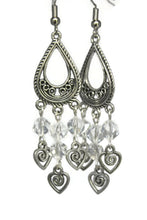 Load image into Gallery viewer, Chandelier Earrings Teardrop Heart Swirl Antiqued Silver Clip Ons No Piercing