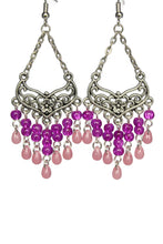 Load image into Gallery viewer, Pink Chandelier Earrings Antiqued Silver Smooth Chevron Flower Clip Ons No Piercing