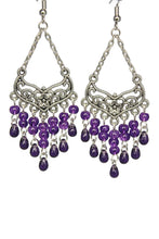 Load image into Gallery viewer, Purple Chandelier Earrings Antiqued Silver Smooth Chevron Flower Clip Ons No Piercing