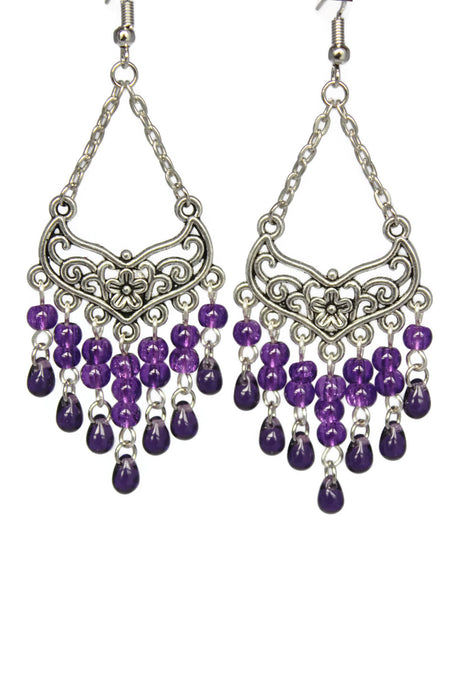 Purple Chandelier Earrings Antiqued Silver Smooth Chevron Flower Clip Ons No Piercing