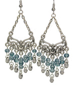 Load image into Gallery viewer, Blue Stone Chandelier Earrings Antiqued Silver Smooth Chevron Flower Clip Ons No Piercing