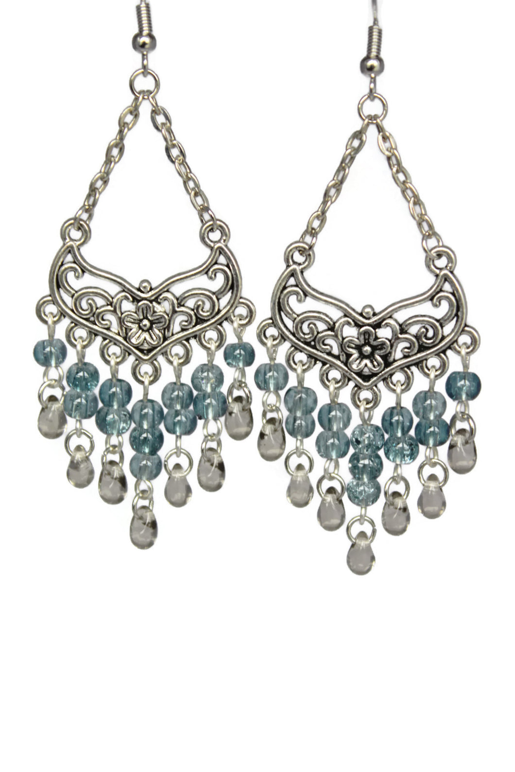 Blue Stone Chandelier Earrings Antiqued Silver Smooth Chevron Flower Clip Ons No Piercing