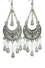 Load image into Gallery viewer, White Chandelier Earrings Antiqued Silver Half Moon Clip Ons No Piercing