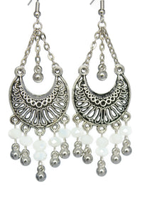 White Chandelier Earrings Antiqued Silver Half Moon Clip Ons No Piercing