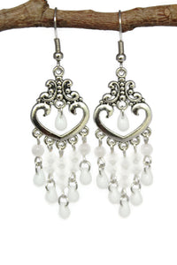 Chandelier Earrings Antiqued Silver Heart No Piercing Clip Ons Cat's Eye Beads