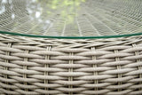 OUTDOOR ROUND LOW WICKER TABLE-DRIFTWOOD WICKER