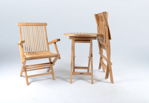 JAKARTA TEAK FOLDING TABLE AND CHAIRS – 3PC SET
