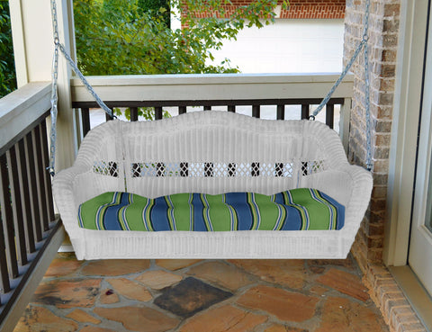 PORTSIDE PORCH SWING-WHITE WICKER