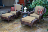 SEA PINES TWO CLUB CHAIRS, TWO OTTOMANS AND SIDE TABLE BUNDLES