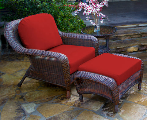 SEA PINES CLUB CHAIR, OTTOMAN AND SIDE TABLE BUNDLES-JAVA WICKER